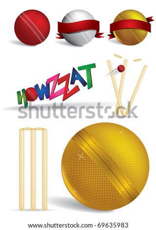 Cricket game items - vector illustrations - stock vector