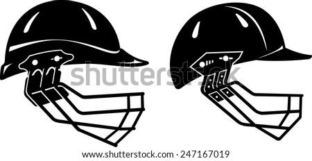Cricket Helmet Set - stock vector