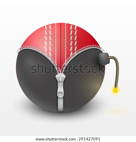 Cricket leather ball inside a burning bomb. Vector Illustration, isolated and editable. - stock vector