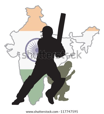 Cricket player at background India map - stock vector