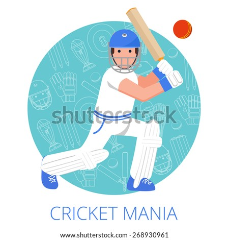 Cricket player with bat in helmet and leg guards on game equipment outlined background abstract vector illustration - stock vector