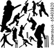 cricket players collection 2 - vector - stock vector