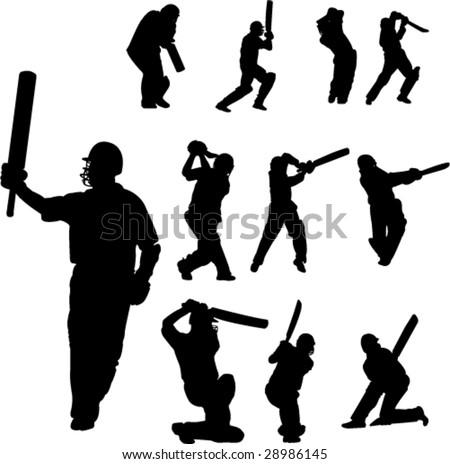 cricket players collection  - vector - stock vector