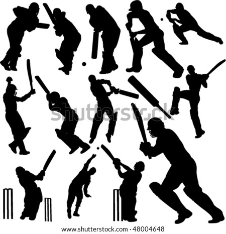 cricket players collection 1 - vector - stock vector