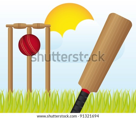 cricket set over landscape with grass and sky vector - stock vector