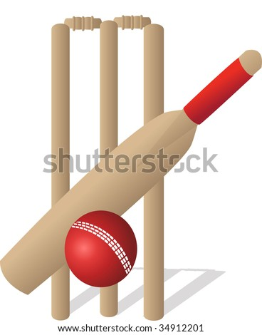 cricket set with bat ball and wickets on a white background - stock vector