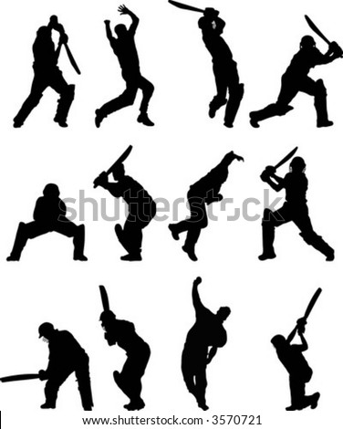 Cricket silhouettes - stock vector