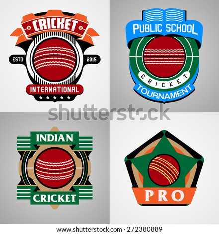 Cricket Sport label collection - stock vector
