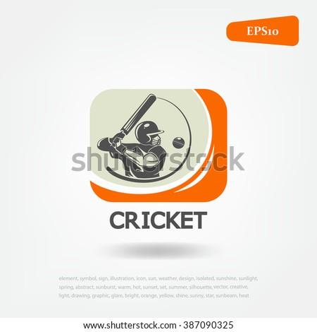 cricket sport logo. Sport game - stock vector