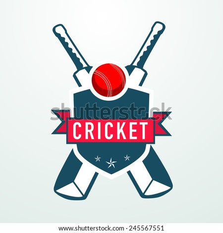 Cricket sports concept with bats, red ball and winning shield. - stock vector