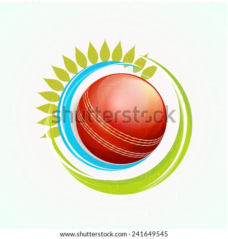 Cricket sports concept with glossy red ball and green leaves on sky blue background.