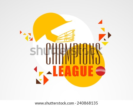 Cricket sports concept with red ball and helmet on grey background, can be used as poster or banner design.  - stock vector