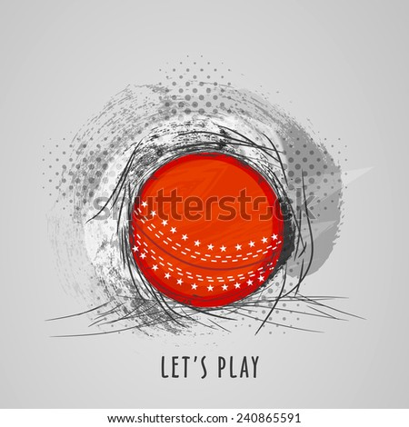 Cricket sports concept with red ball on abstract grey background.