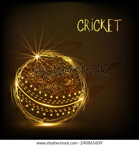 Cricket sports concept with shiny golden ball on brown background. - stock vector