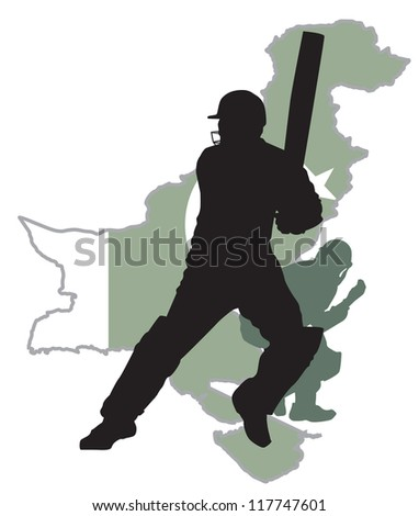 criket player at background Pakistan map - stock vector