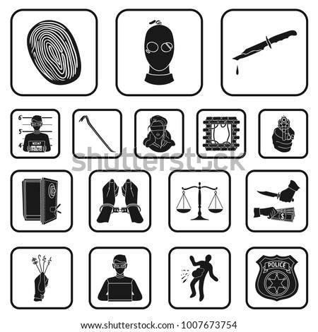 Crime Punishment Black Icons Set Collection Stock Vector 1007673754