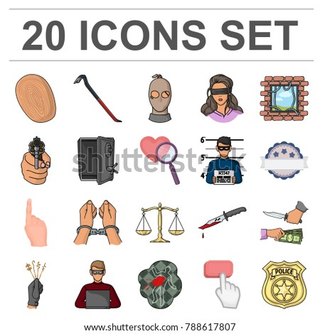 Crime Punishment Cartoon Icons Set Collection Stock Vector 788617807