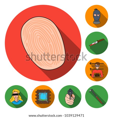 Crime Punishment Flat Icons Set Collection Stock Vector 1039129471