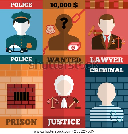 Crime and punishment mini poster set with police lawyer prison justice criminal isolated vector illustration - stock vector