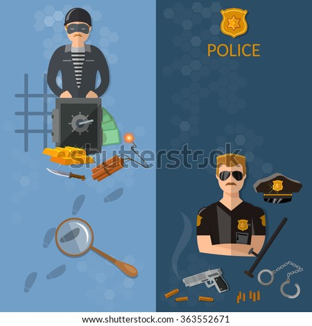 Crime and Punishment vector banners thief and policeman - stock vector