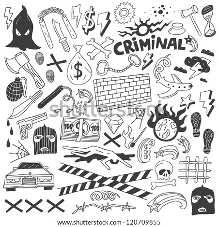 Crime - doodles collection - stock vector