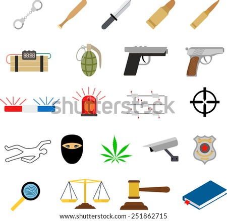 Crime icons in flat colors style - stock vector