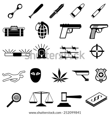 Crime Icons set - stock vector
