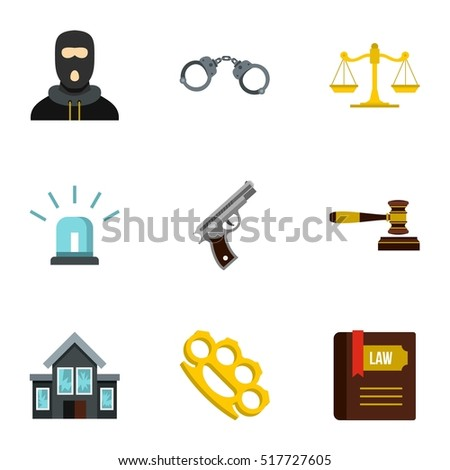 Crime icons set. Flat illustration of 9 crime vector icons for web