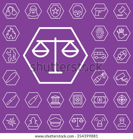 crime, justice outline, thin, flat, digital icon set for web and mobile - stock vector