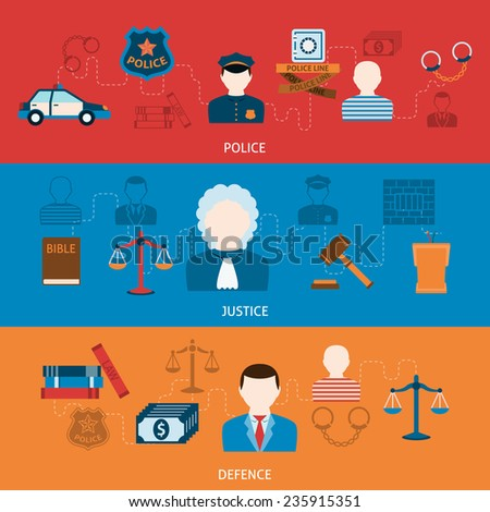 Crime police investigation judgment  punishment and imprisonment symbols infographics elements flat horizontal banners set abstract  vector illustration - stock vector
