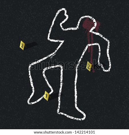 Crime scene illustration, vector - stock vector