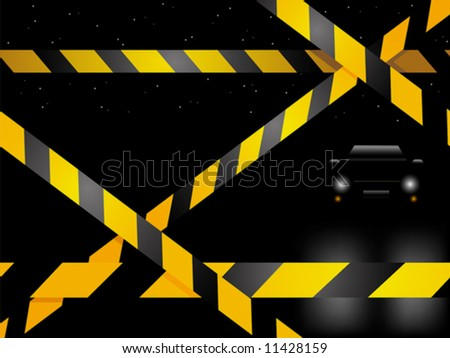 Crime scene with car - stock vector