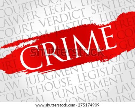 Crime word cloud concept - stock vector