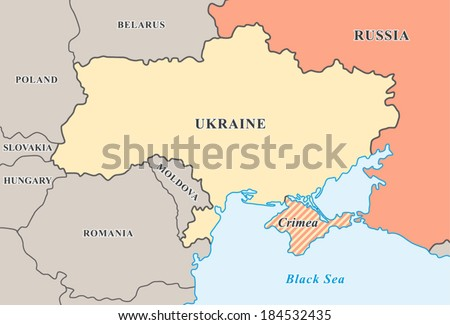 Crimea annexation map. Political map of Crimean crisis 2014. New Ukraine and  Russian Federation borders. Fully editable vector graphics. - stock vector