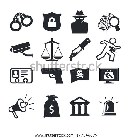 Crimes icons set - stock vector
