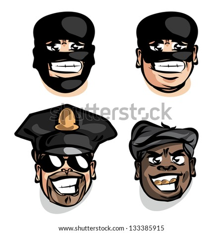 Criminal and police. Vector illustration - stock vector