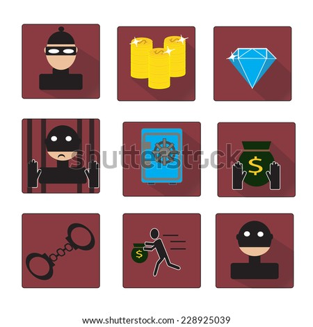 Criminal and prison vector icons set - stock vector