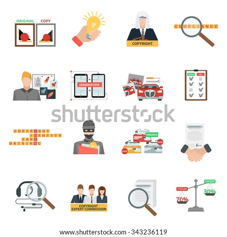 Criminal copyright law compliance and intellectual property piracy theft penalties flat icons collection abstract isolated vector illustration - stock vector