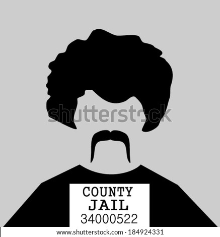 criminal in county jail mugshot photo - stock vector