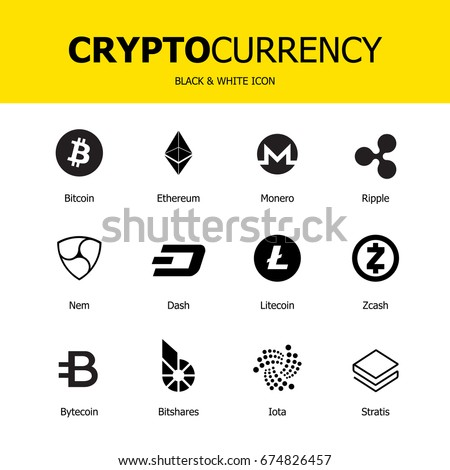 Set Of Virtual Currency Vector Trading Signs Bitcoin Ethereum