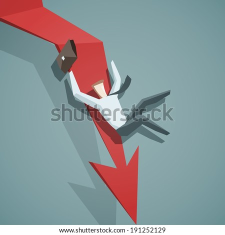 Crisis concept - Arrow graph going down and businessman is falling down - stock vector