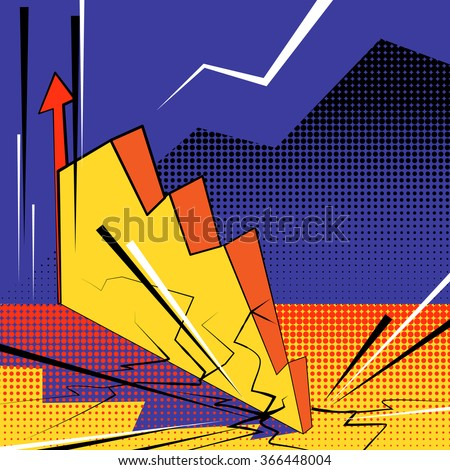 Crisis graph falls down and hit the bottom with cracks. Vector pop art illustration