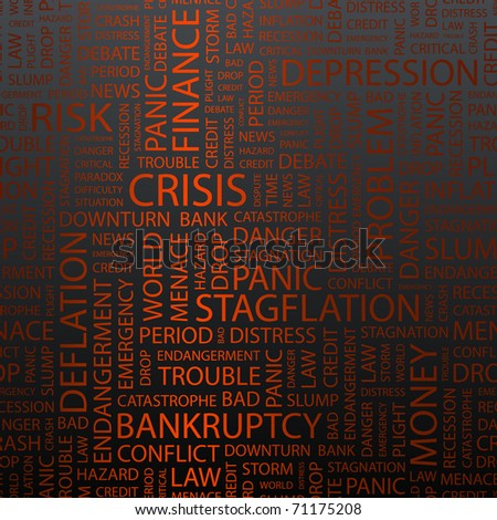 CRISIS. Seamless vector pattern with word cloud. - stock vector