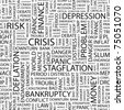 CRISIS. Seamless vector pattern with word cloud. Illustration with different association terms. - stock photo