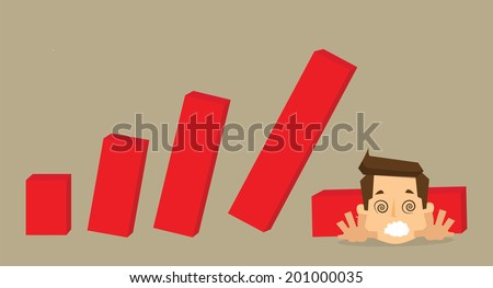 crisis with unstable statistic bars  - stock vector