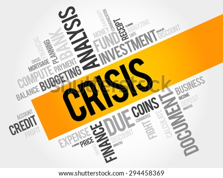 CRISIS word cloud, business concept - stock vector