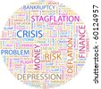 CRISIS. Word collage on white background. Illustration with different association terms. - stock photo