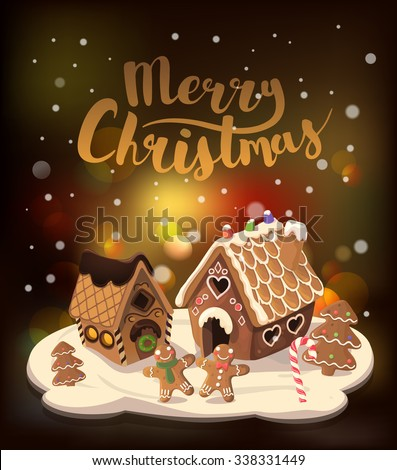 Cristmas Background with gingerbread houses, candy, and gingerbread little men, Vector illustration. - stock vector