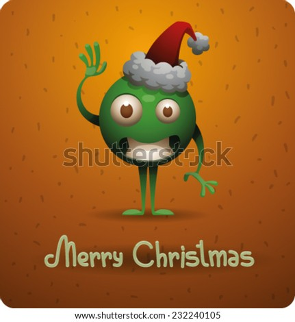 Cristmas car with funny green elf in a hat, vector - stock vector