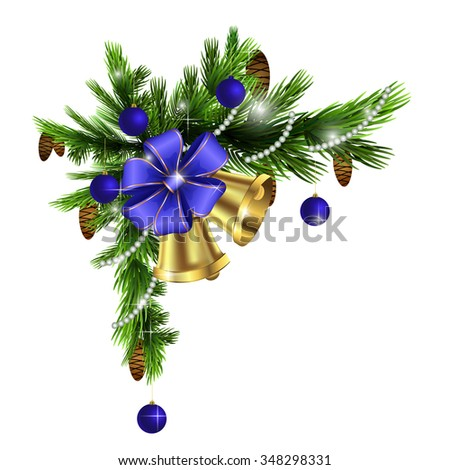 Cristmas corner decorations isolated on  white with blue bow - stock vector